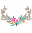Doodle horns with watercolor flowers and feathers vector image