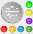 Ferris wheel icon sign Symbol on eight flat vector image