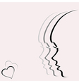 Love card with woman profile portrait vector image