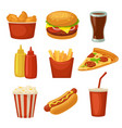 set fast food icon cup cola chips burrito vector image