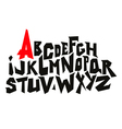 Straight lines comic graffiti font alphabet vector image
