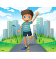 A boy waving while running in the middle of the vector image