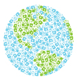 Earth globe made from handprints kids and parents vector image