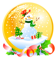 christmas snowball with snowman vector image
