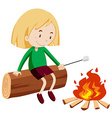 Girl at the campfire vector image