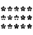 black smileys stars set vector image