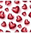 Shiny red ruby heart on white background seamless vector image