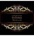 Vintage gold invitation or wedding card on black vector image