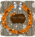 Christmas card with wreath vector image