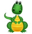 Cute green dragon cartoon vector image