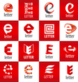 large set of logos letter E vector image vector image