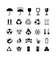 Set of different black cargo symbols on white vector image