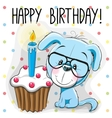 Puppy with cake vector image