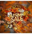 Autumn sale hand lettering and doodles elements vector image