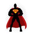 cartoon silhouette of a superhero with dad symbol vector image