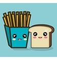 fries and bread cartoon food design isolated vector image