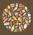 ice cream icon in circle shape vector image