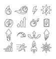 Performance line icons set vector image
