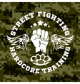 Street fighting emblem with fist and wings on vector image