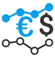 Currency Charts Flat Icon vector image
