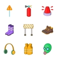Roadworks icons set cartoon style vector image