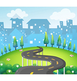 A curve road at the top of the hill vector image vector image