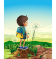 A boy with a backpack standing above a stump vector image