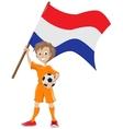 Happy soccer fan holds Holland flag cartoon vector image