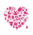 Heart shape design with toys for baby girl vector image