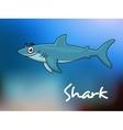 Cartoon shark in sea vector image vector image
