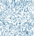 Doodle floral seamless card vector image