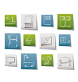 hotel and motel room facilities icons vector image