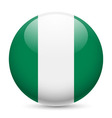 Round glossy icon of nigeria vector image