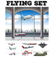 Airport scene with many airplanes vector image