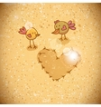 Cartoon birds with heart vector image