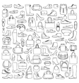 Man and woman doodle shoes and bags vector image