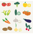 set of color simple vegetables icons eps10 vector image