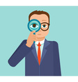 businessman looking for future trends through magn vector image vector image