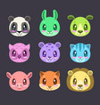cute cartoon colorful faces of different animals vector image
