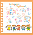 Kindergarten Kids Characters and Playground Set vector image