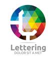lettering l rainbow alphabet design vector image