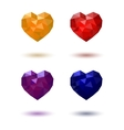 Polygonal heart Red Yellow Blue Purple vector image