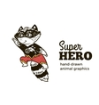 Raccoon in Superhero costume character isolated on vector image