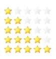 Set of five golden stars rating template on white vector image