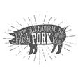 Vintage typographic premium pork meat label vector image