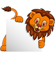 lion cartoon with blank sign vector image vector image