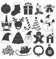 Black and White Christmas Icons Set vector image