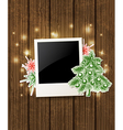Wooden background with photo and christmas tree vector