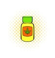Bottle with buds of marijuana icon comics style vector image