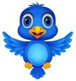 Cute blue bird cartoon vector image